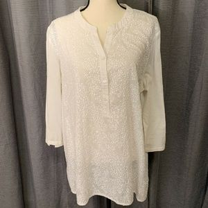 Chicos White Sequin 3/4 Sleeve Henley Blouse 3 16